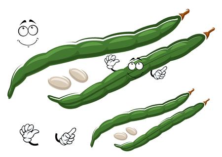ejotes: De dibujos animados vainas verdes de carácter frijol común con semillas blancas, aislado en blanco. Para la agricultura, la cosecha o el diseño de la comida vegetariana