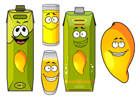 mango juice: Tropical mango juice cartoon characters with funny smiling yellow mango fruit, green juice packs and glasses. Isolated on white