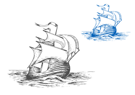 brigantine: Medieval wooden tall ship under full sails doing turning maneuver in the stormy ocean, for marine adventure or travel design. Sketch style Illustration