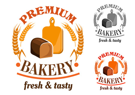 Bakery shop emblem or sign with rye bread loaf in front of wooden cutting board, framed by wheat and rye and headers Premium Bakery, Fresh and Tasty Ilustracja