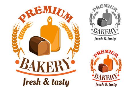 Bakkerij embleem of teken met roggebrood brood in de voorkant van de houten snijplank, omlijst door tarwe en rogge en headers Premium bakkerij, vers en smakelijk
