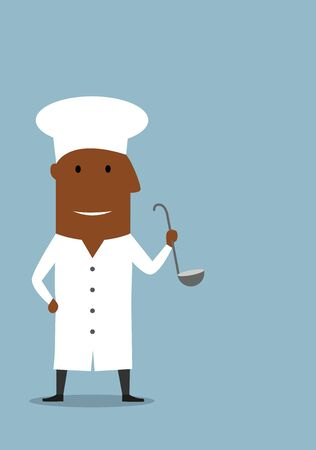 african cartoon: Smiling african american chef or cook in white uniform coat and toque hat, standing with ladle in hand. Cartoon flat style