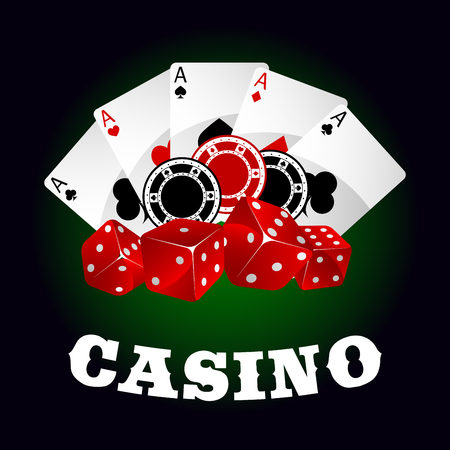 industry design: Casino icons with glossy red dices, gambling chips and winning combination of poker aces on the background. For gambling industry theme design