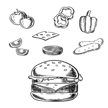 cheese burger: Cheeseburger sketch with grilled patty, cheese, fresh tomatoes, cucumbers, bell pepper vegetables and wheat bun with sesame.