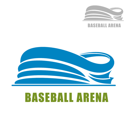 baseball stadium: Baseball stadium icon with blue silhouette of sports arena building, with second variation in gray color