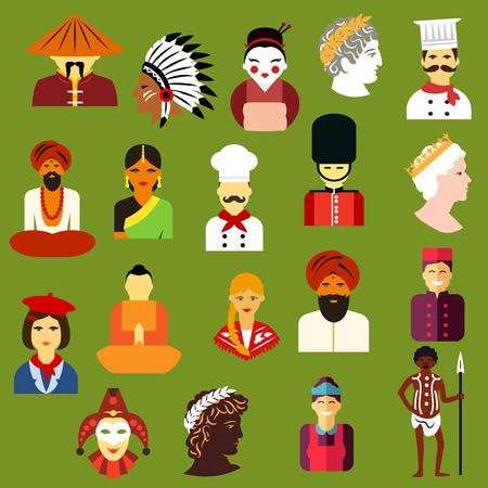 simbolo uomo donna: Icone di persone multietnica con uomini e donne di differenti popoli greco cinese, giapponese, indiano, nativo americano, tedesco, italiano, francese, russo, britannico, australiano. Icone di stile piatti e avatar