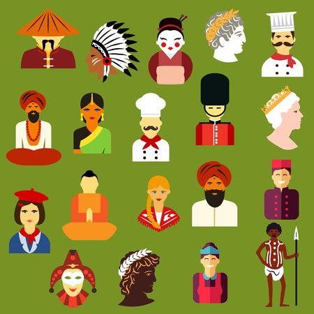 Multiethnic people icons with men and women of different  chinese, japanese, indian, native american, german, italian, french, russian, british, australian, greek peoples. Flat style icons and avatars Illustration