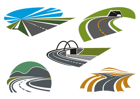 transport icon: Forked road, mountain highways with tunnel and steep turn, road bridge and speed freeway with blue sky, for transportation industry or travel theme icon design Illustration