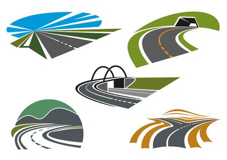 trasporti: Strada biforcuta, autostrade di montagna con tunnel e virata stretta, ponte stradale e autostrada velocità con cielo blu, per l'industria del trasporto o di viaggio tema di icone di design