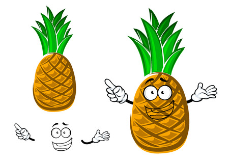 com escamas: Funny tropical cartoon pineapple fruit character with scaly yellow peel and spiny green leaves, isolated on white