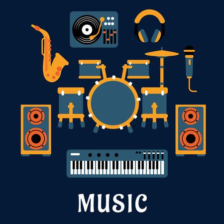 musica electronica: Instrumentos musicales y equipos de sonido con bater�a, auriculares, saxof�n, micr�fono, sintetizador, giradiscos dj y altavoces iconos planos con fuelle ep�grafe M�sica