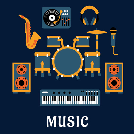 bellow: Musical instruments and sound equipment with drum set, headphone, saxophone, microphone, synthesizer, dj turntable and loudspeakers flat icons with caption Music bellow