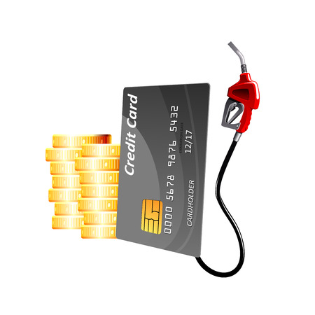 Bank credit card with red gasoline pump nozzle and stacks of gold coins, for oil industry or financial concept design