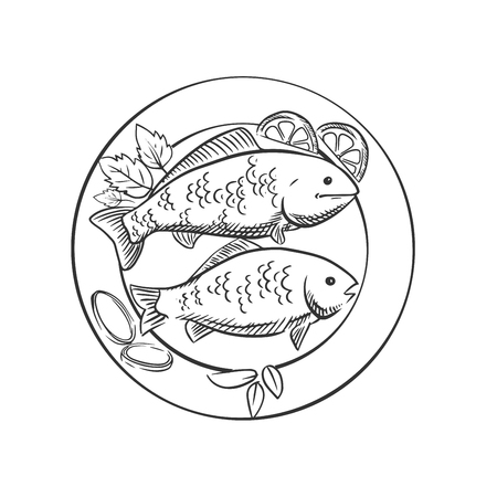 fried: Fried fish on plate with fresh spicy herbs, lemon slices and onion rings. For seafood menu design, sketch style Illustration