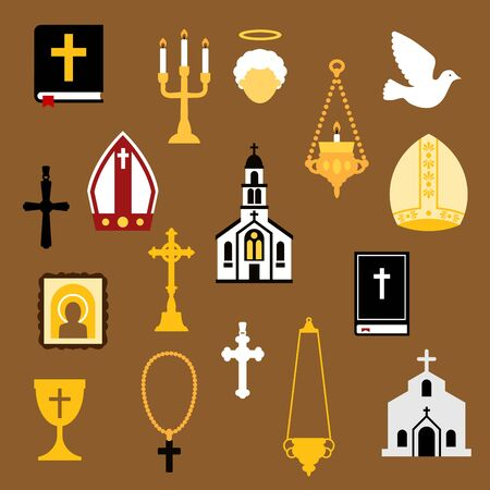 liturgy: Religious flat icons with bible books, crosses, chalice, rosary, church or temple building, angel, white dove, icon, mitres and candelabras