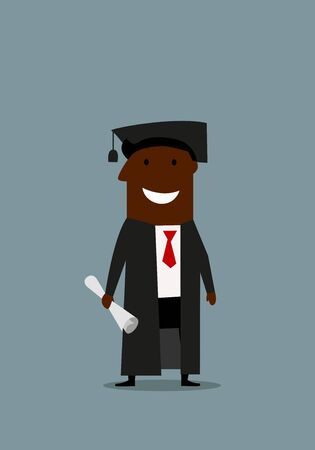 graduation gown: Joyful cartoon african american businessman in graduation gown and cap with diploma in hand, for education or career design