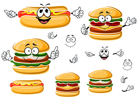 perro caliente: Feliz hamburguesa de comida rápida, caracteres del perro y de dibujos animados con queso caliente. Para llevar y diseño del menú de comida rápida