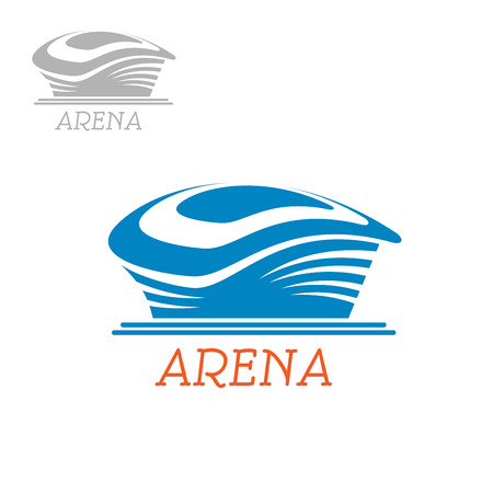 blue roof: Public sport stadium icon with abstract blue arena building for baseball, football or soccer competition, for architecture themes design