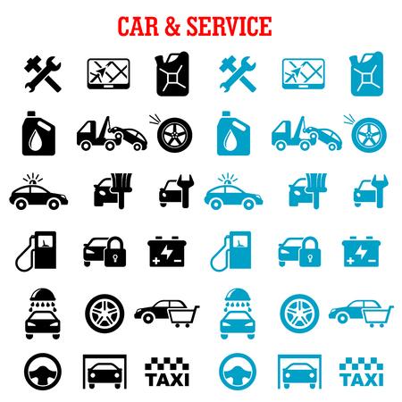 交通機関、車、車販売、けん引、塗料、洗浄、セット サービス フラット アイコンを修復、タイヤのサービス、タクシー、燃料ジェリカン、ガソリ  イラスト・ベクター素材