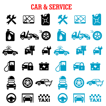 Transportation, car and service flat icons set with car sale, towing, paint, washing, repair, tire service, taxi, fuel jerrycan, gas station, wheel, navigation, battery, traffic police and security system