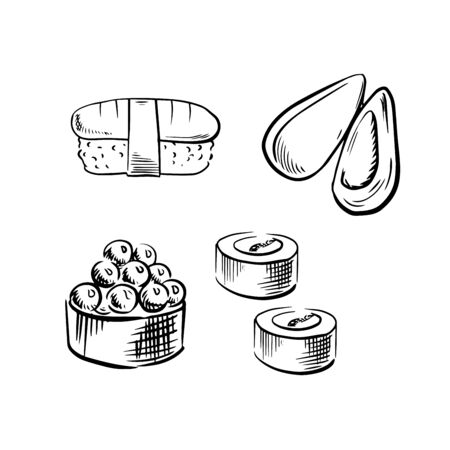mussel: Fresh appetizing sea mussel, sushi rolls with salmon, caviar and nigiri sushi with tuna. Sketch icons for seafood design