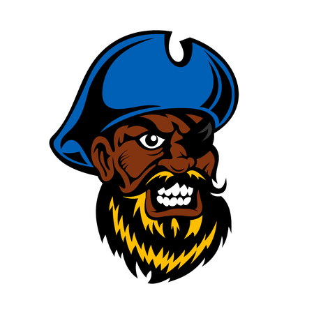 sea robber: Angry cartoon dark skinned pirate captain with lush beard, in blue hat and eye patch, for tattoo or adventure theme