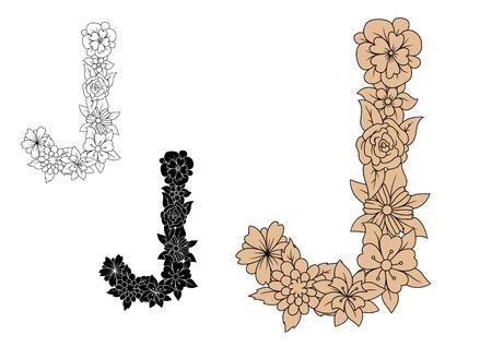 adorned: Decorative floral font brown capital letter J, adorned by fragile blooming flowers, for monogram or vintage type design