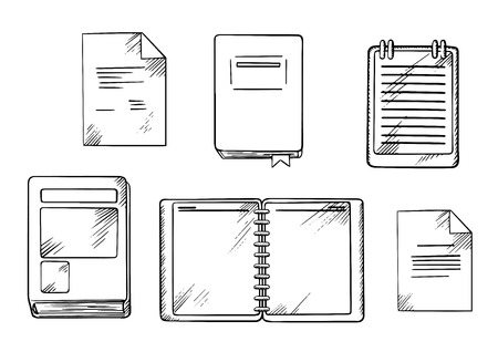 spiral book: Book, open spiral notebook and notepad, paper documents and diary with ribbon bookmark. Isolated sketch icons for school or office supplies theme