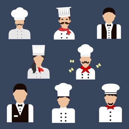 panadero: iconos planos alimentos profesión de servicio con los cocineros, panaderos en túnicas uniformes y sombreros y camareros con chalecos elegantes con lazos de unión