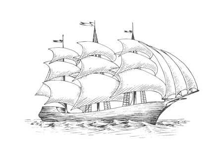 vessel: Medieval tall sailing ship on the ocean with full fluttering sails n the breeze, for nautical, adventure or journey theme