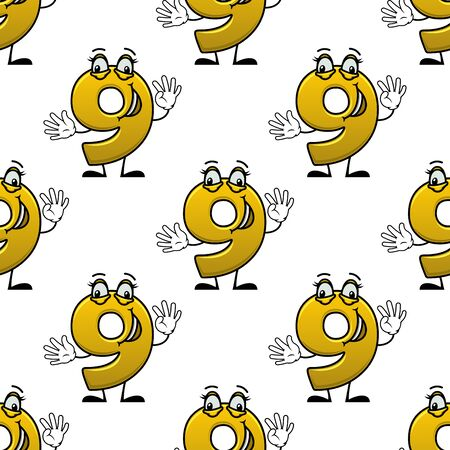 Seamless pattern with funny number nine cartoon characters, shows nine fingers. On white background, for education or birthday party theme