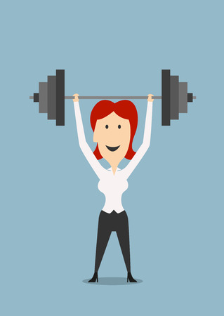 goal achievement: Cartoon strong businesswoman raises heavy dumbbell above head. For success or goal achievement theme design Illustration