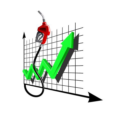 선형 차트 녹색 화살표와 빨간색 휘발유 펌프 노즐. 가스 및 석유 산업 테마 디자인을위한 연료 가격의 증가하는 역학을 나타냅니다. 일러스트