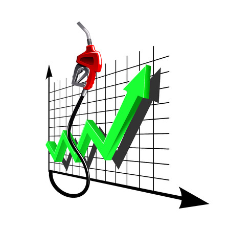 Red gasoline pump nozzle with line chart green arrow. Indicates increasing dynamics of fuel prices, for gas and oil industry themes design Illustration