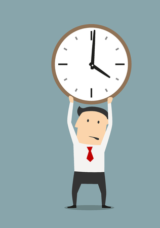 Serious businessman holding clock over head, for time management or deadline theme design. Cartoon style