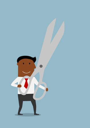 hand holding: Smiling cartoon african american businessman holding huge open scissors in hands. Business concept