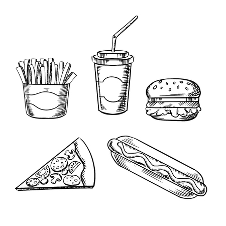 snacks: Fast food sketches with hamburger, slice of pizza, french fries, hot dog and paper takeaway cup of soda drink, for takeout menu design Illustration