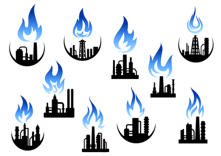 industry design: Silhouettes of petroleum refineries, natural gas processing and chemical plants icons set with ornamental blue flame above their pipes, for oil industry themes design Illustration