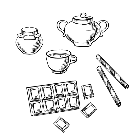 bowls: Cup of coffee or tea with chocolate bar, honey jar, waffle rolls and sugar bowl sketch icons