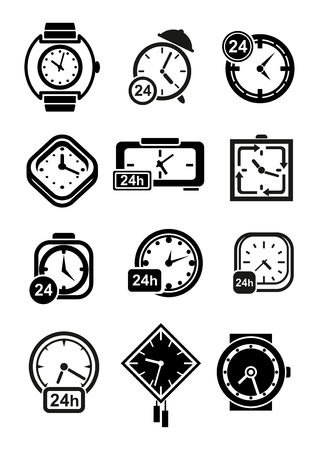 time table: Clocks black icons of wall and table clocks, wristwatches and alarm clocks with 24 hours signs