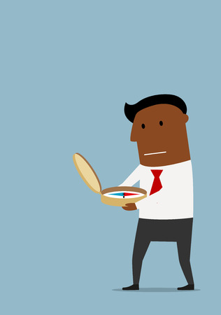 business direction: Concerned african american businessman using compass to find a direction of business strategy or way to success. Cartoon flat style Illustration