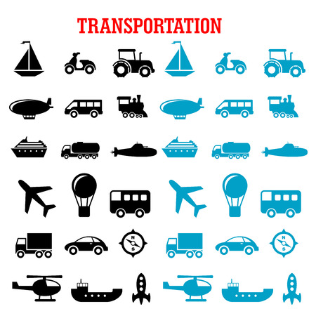 silhouette: Flat transportation icons set with cars, buses, train, trucks, ship, airplane, motorcycle, sailboat, compass, tractor, helicopter, rocket, submarine, hot air balloon and spaceship