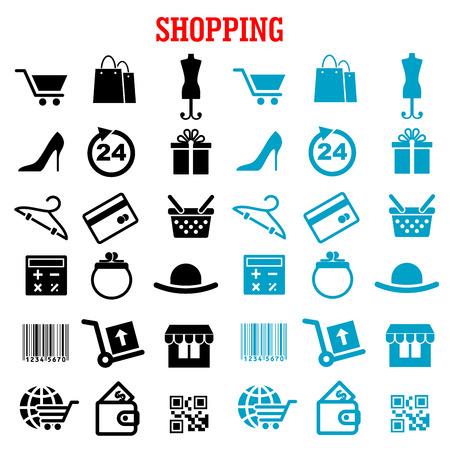 gift basket: Shopping and commerce flat icons with black and blue shopping carts, basket and bags, bank credit card, wallets, money, delivery, barcode, store, qr code, gift box, 24 hours sign, calculator, shoes, hat
