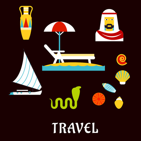Egypt travel and beach vacation concept with flat icons with sea waves, chaise lounge and umbrella, sailboat or yacht, ancient amphora, egyptian sheikh, cobra and seashells
