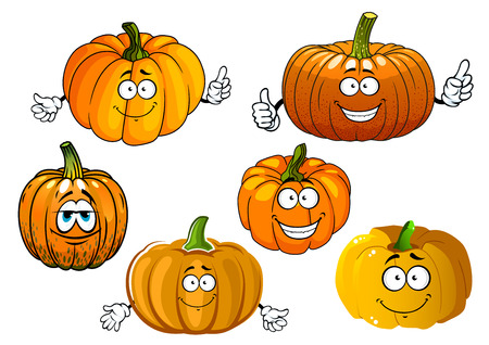 veggies: Funny orange pumpkin vegetables cartoon characters with cheerful smiling faces for agriculture and veggies design Illustration