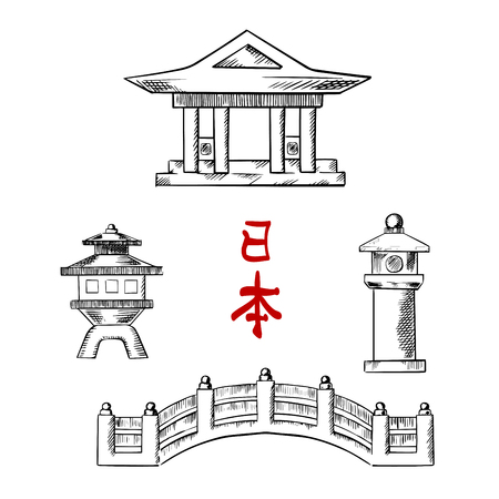 japan: Traditional japanese architecture icons with bridge, temple and stone lanterns. For oriental culture ot travel design, sketch icons
