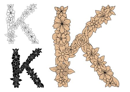 dainty: Dainty capital letter K with brown flowers, adorned by decorative foliage, for monogram design, isolated on white