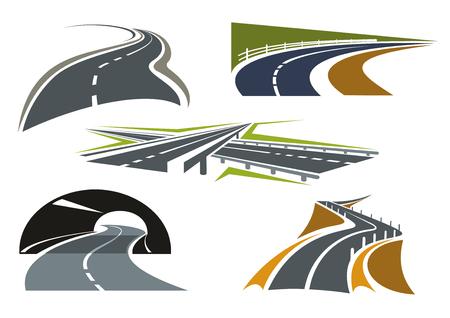 Modernos iconos autopista con intercambio de paso elevado, túnel de la carretera, caminos rurales de bypass y carretera de montaña sobre precipicio. Para el diseño de viajes o viaje en coche Foto de archivo - 47746316