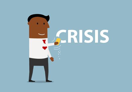 Lachend Afro-Amerikaanse zakenman het wissen van het woord crisis met spons in de hand, voor de crisis oplossing of het management thema's ontwerp