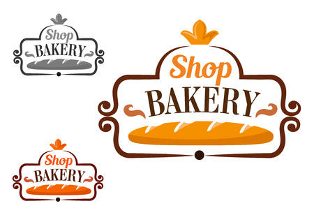 bread: Bakery shop emblem or signboard design with long loaf of wheat bread, framed by cartouche with crown on the top